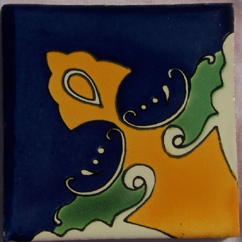 C218- Mexican Handmade Talavera Clay Tile Folk Art 4x4
