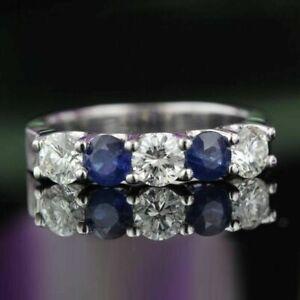 0.55 Ct Real Diamond Blue Sapphire 950 Platinum Wedding Half Band Size L M N O Q