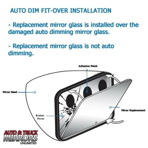 Full Adhesive For 3 Series Driver Side Mirror Glass Replacement Dim Fit Over