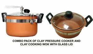 Combo Pack Terracota Arcilla Olla A Presion Clay Cocina Wok