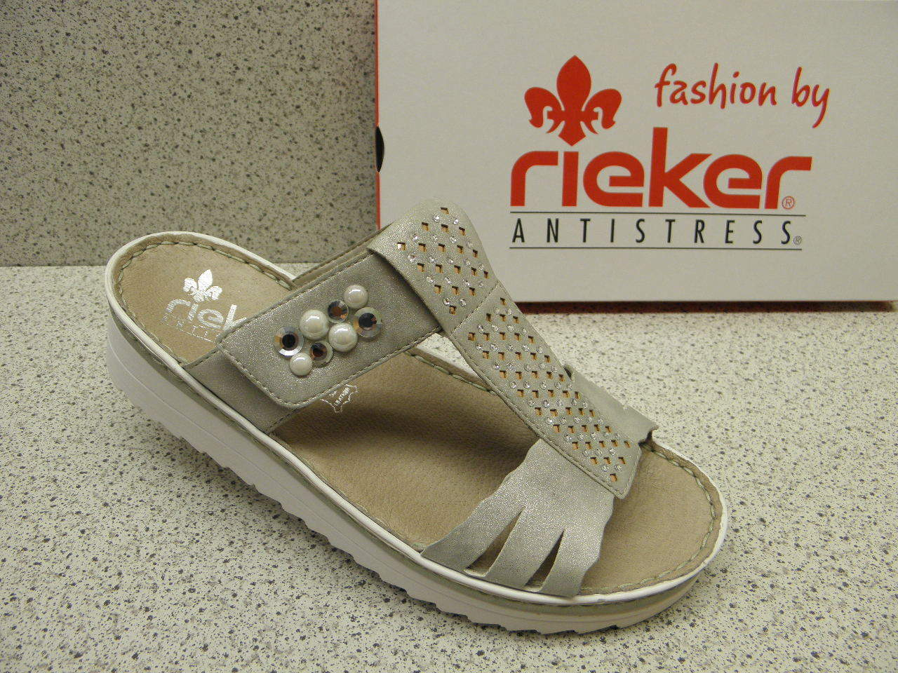 R504 rieker ®  reduziert  Top Preis  Pantolette Klett Plateau grau