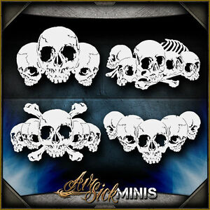 mini skull background set 4 airbrush stencil template airsick ebay
