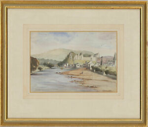 Framed-Early-20th-Century-Watercolour-Ruined-Castle