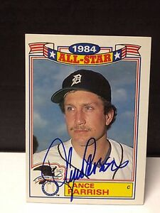 1985 TOPPS LANCE PARRISH COMMEMORATIVE 1984 ALL-STAR CARD #20 OF 22 AUTOGRAPHED