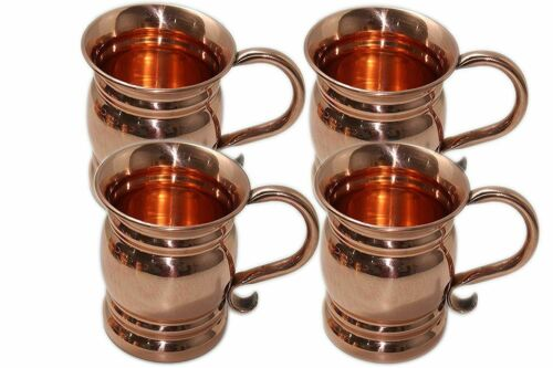 Authentic Copper Old Fashion Smooth Moscow Mule Mug with Flat Lip Set Of 4
