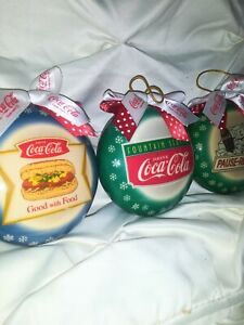 Vintage lot of  3 Oval 90s Coca Cola Advertising Christmas Collectors Ornaments