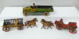 Antique-Tin-Litho-Toy-Truck-Horse-Cart-1920s-Lot