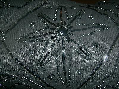 Victoria Jones Sweater large black with black beading Holiday   3/4 sleeve