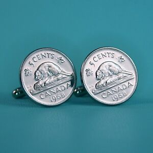 Details about 1968 Canadian Beaver Nickel Coin Cufflinks, Vintage 5 Cents  Canada