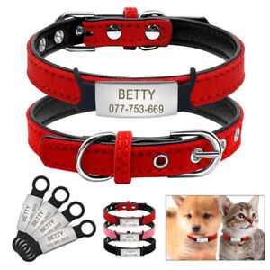 Soft-Suede-Leather-Personalized-Dog-Cat-Collars-amp-Slide-On-Tag-Pet-Puppy-XXS-S