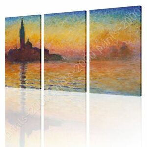 San-Giorgio-Maggiore-At-Dusk-by-Claude-Monet-Ready-to-hang-canvas-3-Panels