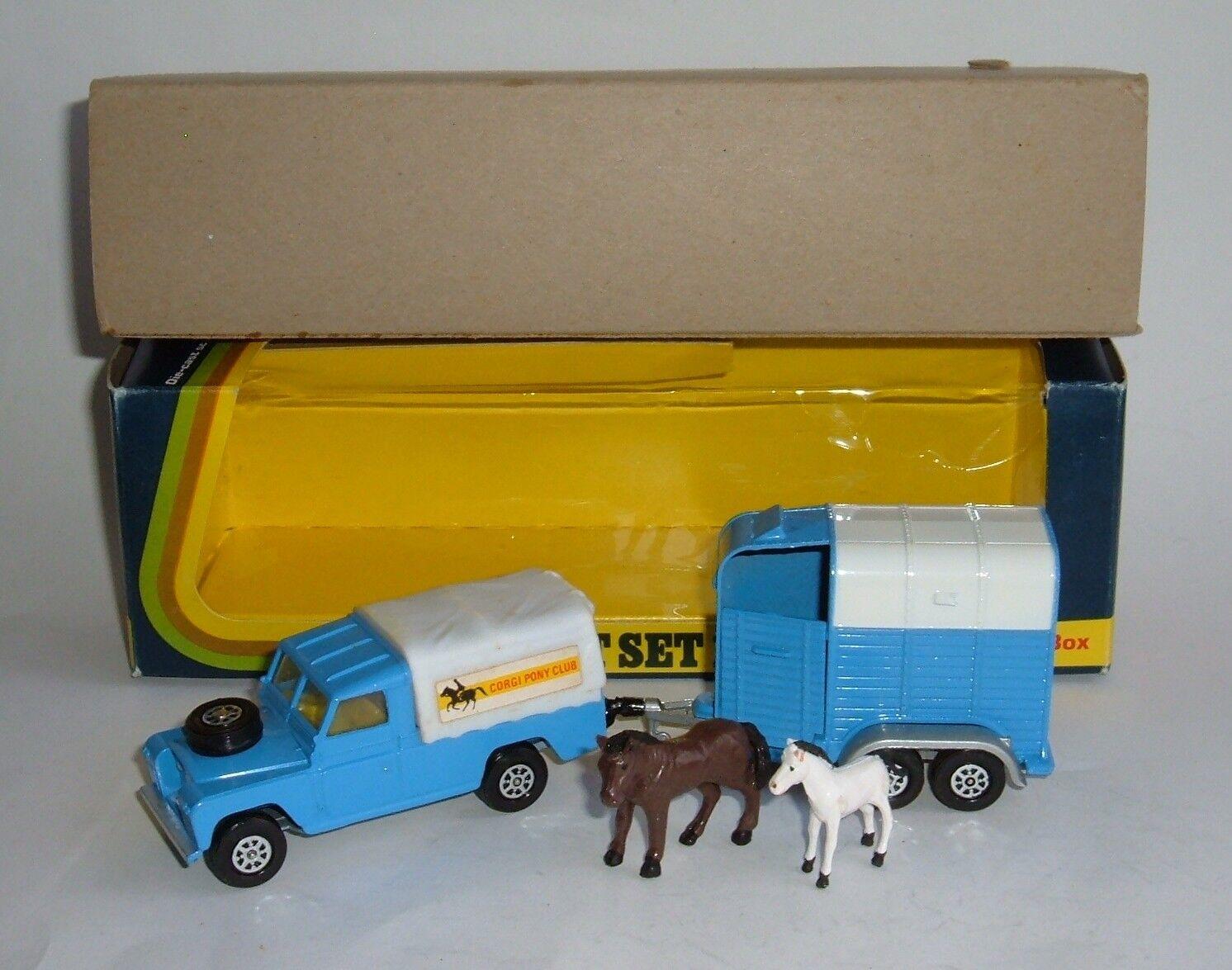 Corgi leksaker Gift Set 15, Land -Rover med Rice s Beaufort Horse låda, Superb Mint