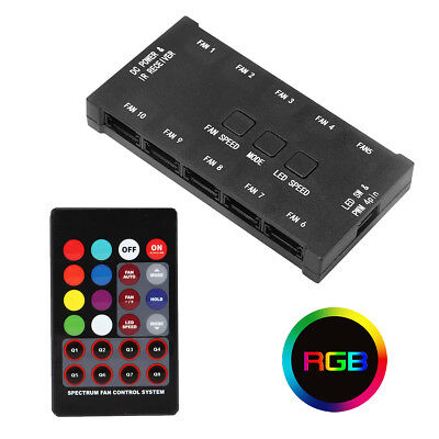 Rainbow Pwm Rgb Controlador De Ventilador De Estuche De Pc Con Control Remoto Hasta 10 Ventiladores 6 Pin Ebay