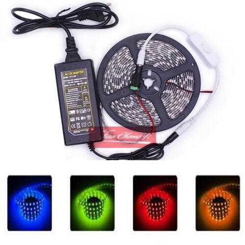 DC12V 1-5M 5050 SMD white Red Blue UV LED Flexible Strip+LED Power+Switch