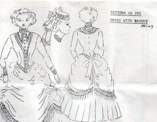 1:12 scale Dollhouse Doll Clothes pattern #SH141 1903 Evening Gown//UNCUT