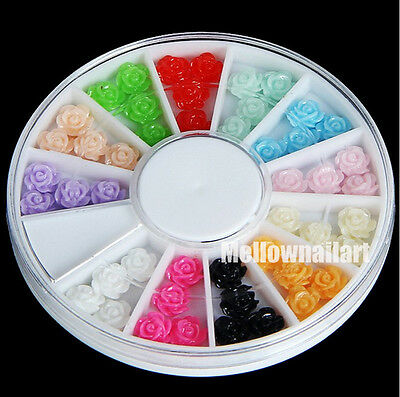 12 Colors 3D Resin Rose Nail Art Beads Stickers Tips DIY Decorations + wheel #20