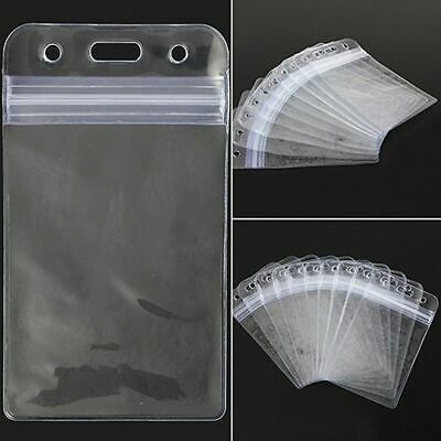 ID Card Holder Plastic Card badge ZIP Waterproof Horizontal Vertical Clear