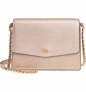 5a96446910 Image is loading Tory-Burch-Robinson-Metallic-Light-Rose-Gold-Convertible-