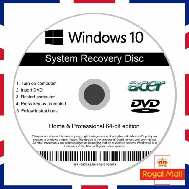 Acer Windows 10 Home & Professional Recovery Repair Install Boot Disc Software