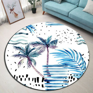 Room Round Floor Mat Tropical Palm Tree Area Rugs