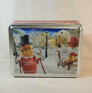 Planter's Peanuts Christmas Metal Tin Vintage Mr. Peanut Snowman Ski Poles