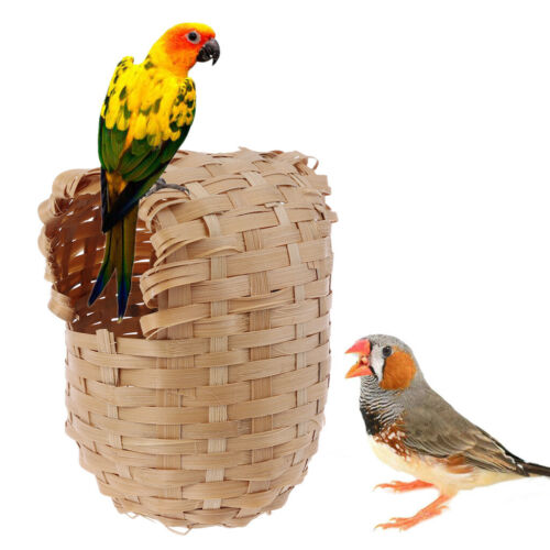 Natural Bamboo Bird House Hand Made Finch Hideout Cage Toy Outdoor Hut Shelter