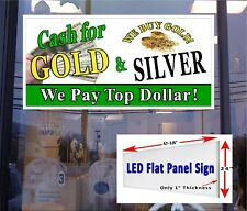 Cash For Gold Amp Silver Led Window Store Sign 48x24 Illuminated Storefront Sign