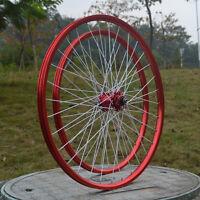 20'' Bicycle Wheelset For Mtb Bmx Disc Brake 406 Novatec Hubs F/r Wheels Rim Red