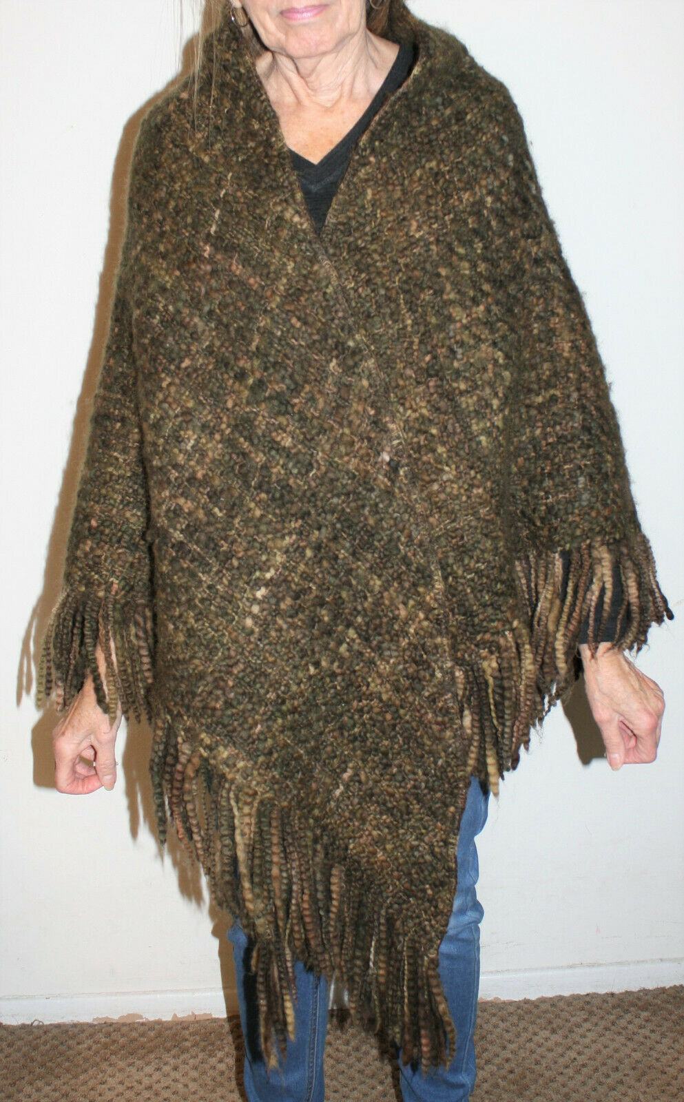 Peruvian Connection Woven Wool Shawl Wrap OS S M L XL Olive Green Brown Fringe