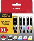5-PACK Canon GENUINE PGI-250XL Black & CLI-251 Color Ink (RETAIL BOX) MX922