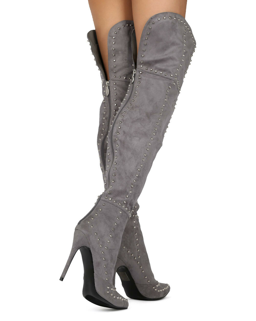 NEU Damens MACKIN J 181-1 Faux Suede Thigh High Pointy Toe Studded Stiletto Boot