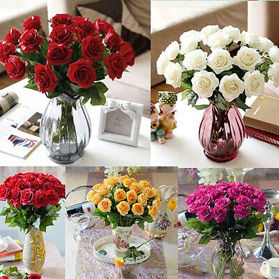 10 20 Heads Real Latex Touch Rose Flowers Fit wedding Office Table Bouquet Decor