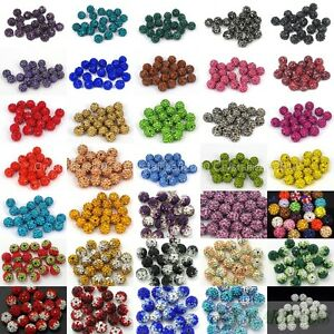 10Pcs-Quality-Czech-Crystal-Rhinestones-Pave-Clay-Round-Disco-Ball-Spacer-Beads