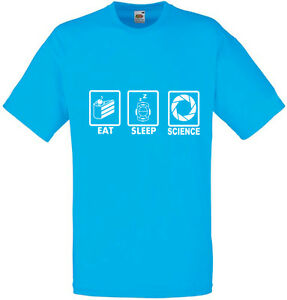 Eat-Sleep-Science-Portal-inspired-Men-039-s-Printed-T-Shirt-100-Cotton-New-Tshirt
