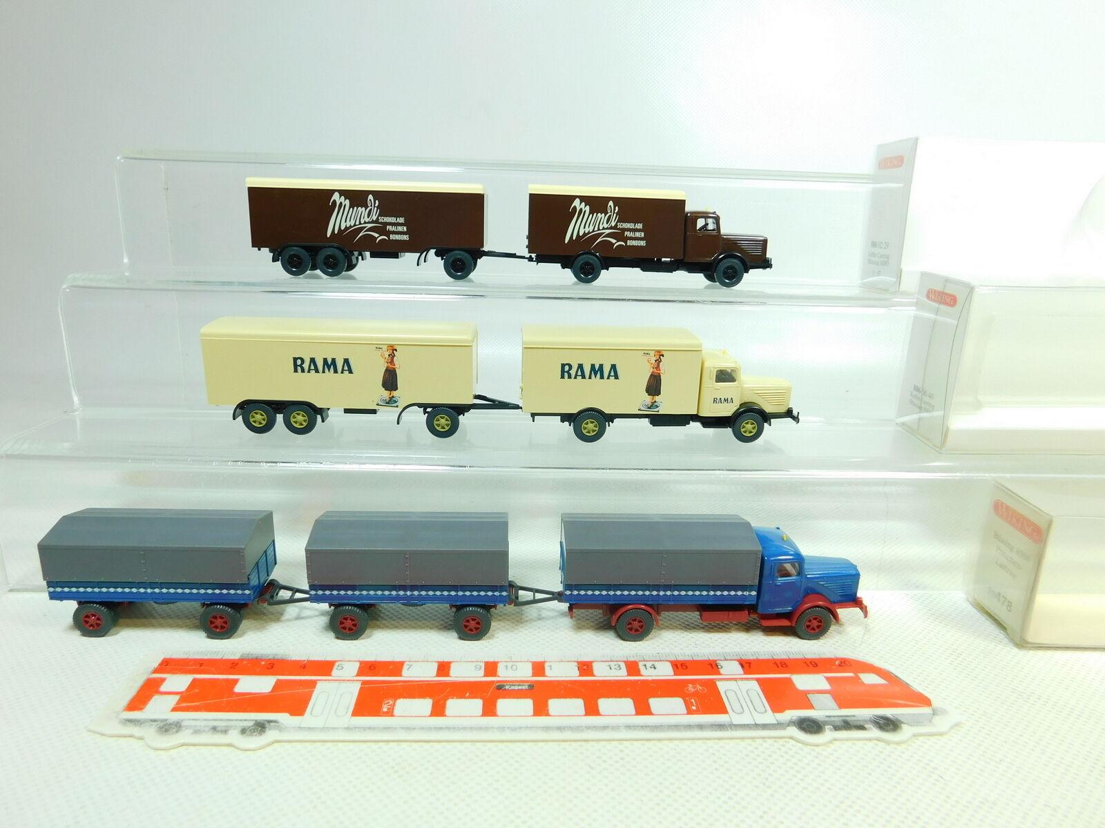 Bt326-0, 5  3x WIKING h0 1 87 Camion Büssing  886 Rama mundi  478, très bien  neuf dans sa boîte