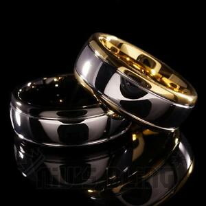 8MM-Gold-Silver-Black-Dome-Tungsten-Carbide-Wedding-Bridal-Band-Men-Jewelry-Ring