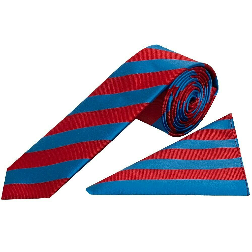 Red and Blue Striped Skinny Men's Tie and Pocket Square Set Wedding Tie
