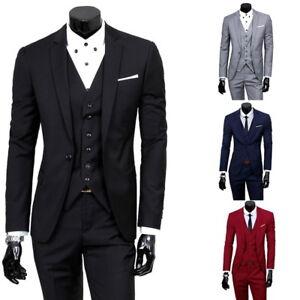 Men-039-s-Slim-Business-Formal-Wedding-Coat-3-Piece-Leisure-Blazer-Solid-Suit-NG200