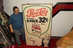 Rare-Large-Vintage-1950-039-s-Pepsi-Cola-Texaco-Gas-Station-Soda-Pop-56-034-Sign