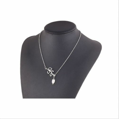 New Fashion Silver Plated Leaves Owl Charm Pendant Metal Necklace For Gift