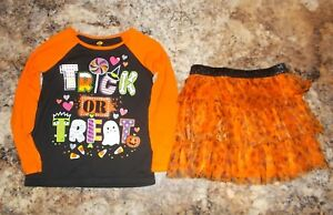 Girls-Halloween-Outfit-2-Piece-Long-Sleeve-Top-And-Skirt-Size-4T