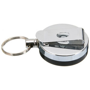 2x Retractable Stainless Keyring Pull Ring Key Chain Recoil Heavy Duty Steel Hot