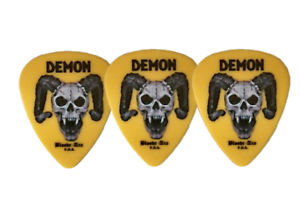3 pc pack Bloode-Axe DEMON guitar picks YELLOW .73mm Made in USA