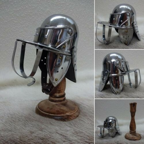 Mini English Civil War Lobster Pot Helmet and Stand Ideal for Home or Office