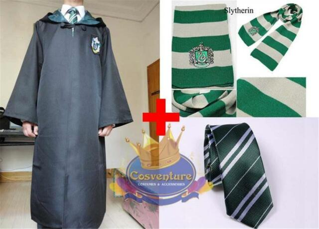 Harry Potter Slytherin ROBE TIE & SCARF Coat Cloak Costume Hogwarts Cosplay AUS