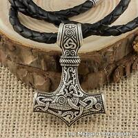 Viking Thor's Hammer Silver Mjolnir Pendant With Handmade Real Leather Necklace