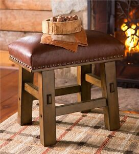 Brown-Bonded-Leather-Footstool-Living-Room-Bedroom-Foyer-Furniture-Stool-Seat
