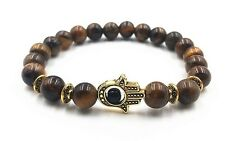 Tigers Eye Chakra Natural Stone Bracelet With Gold Hand of Hamsa Reiki Healing