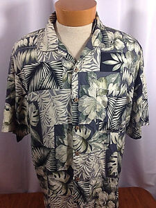 TOMMY-BAHAMA-100-Silk-Floral-Hibiscus-Palm-Fronds-Hawaiian-Shirt-Mens-Size-L