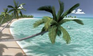ISLAND PARADISE WALLPAPER MURAL Beach Scene Ocean Palm Trees Tropical Wall Decor